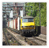 90045 in Freightliner gray heads nth on the WCML near to Leighton Buzzard with a container train.